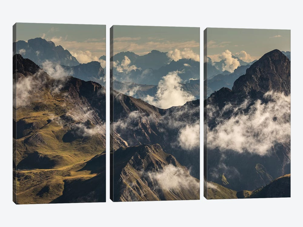 Italy, Alps, Dolomites, Col Margherita Park V 3-piece Canvas Art