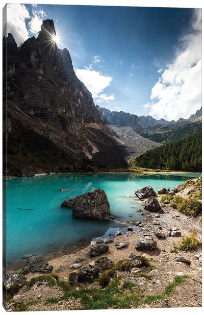 Italy, Alps, Dolomites, Mountains, Lago di Sorapiss I Canvas Art Print
