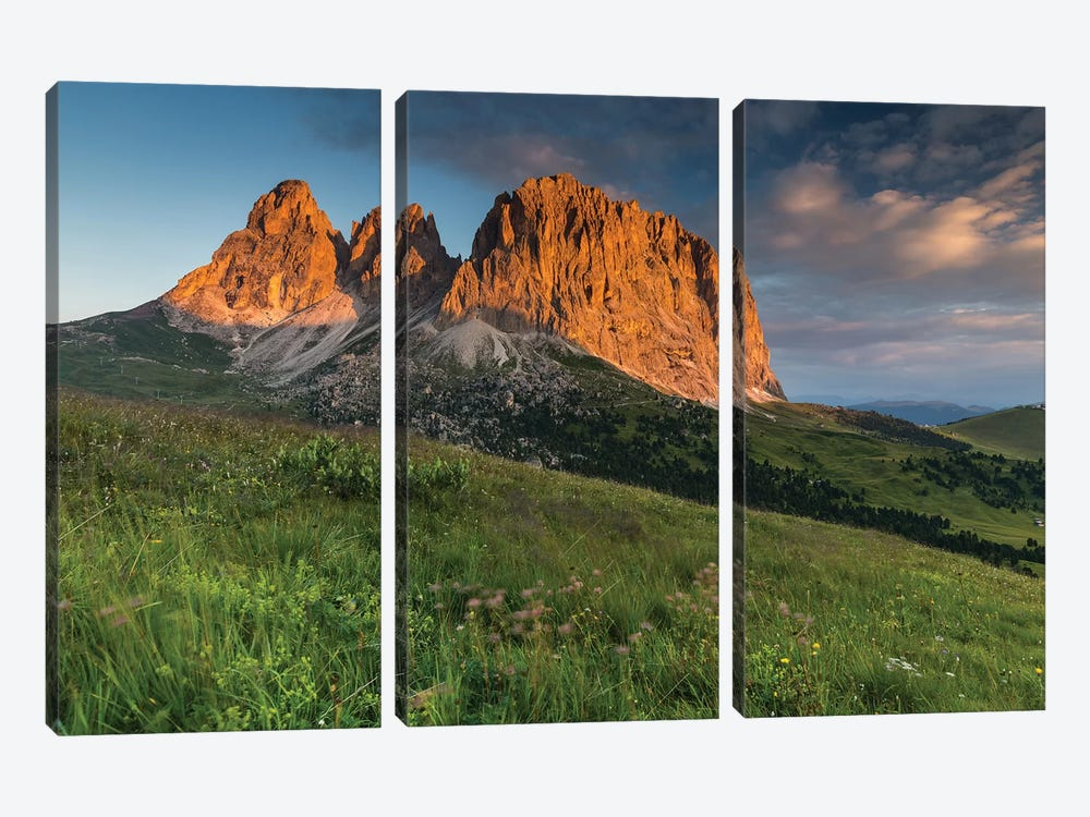 Italy, Alps, Dolomites, Mountains, Passo Sella, Sassolungo by Mikolaj Gospodarek 3-piece Canvas Wall Art