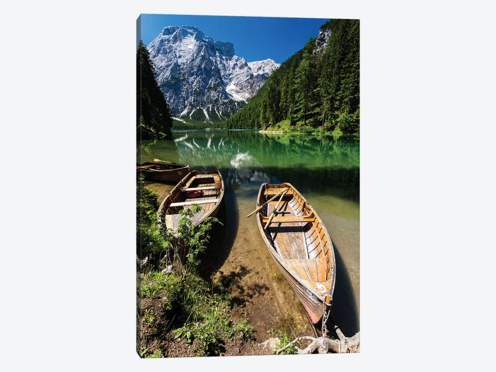 Italy, Dolomites, Lago di Braies 1-piece Canvas Wall Art