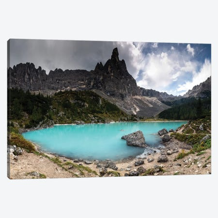 Europe, Italy, Alps, Mountains, Lago Di Sorapiss With Dito Di Dio Canvas Print #LAJ278} by Mikolaj Gospodarek Art Print