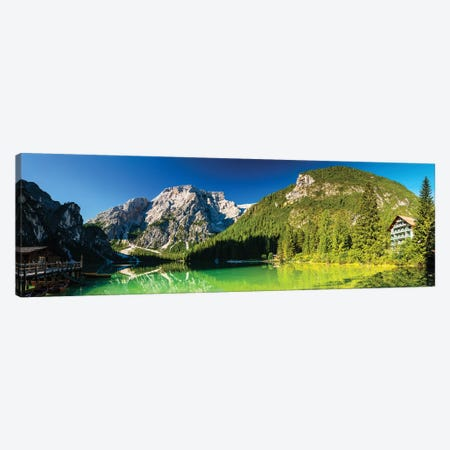 Italy, Alps, Prags Dolomites, Mountains. Pragser Wildsee / Lago Di Braies, I Canvas Print #LAJ300} by Mikolaj Gospodarek Canvas Art Print