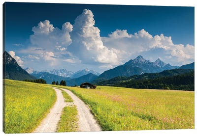 Germany, Alps, Bavaria, Buckelwiesen bei Mittenwald Canvas Art Print