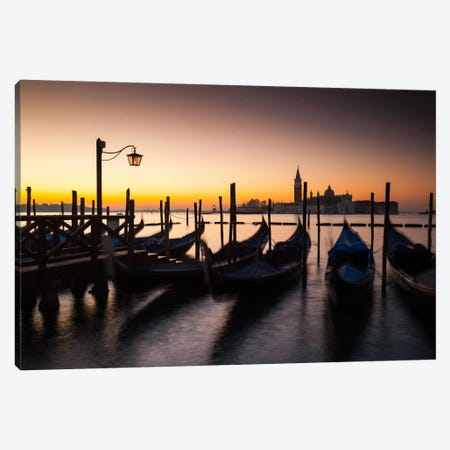 Italy, Venice, Sunrise, Gondolas Canvas Print #LAJ35} by Mikolaj Gospodarek Canvas Art Print
