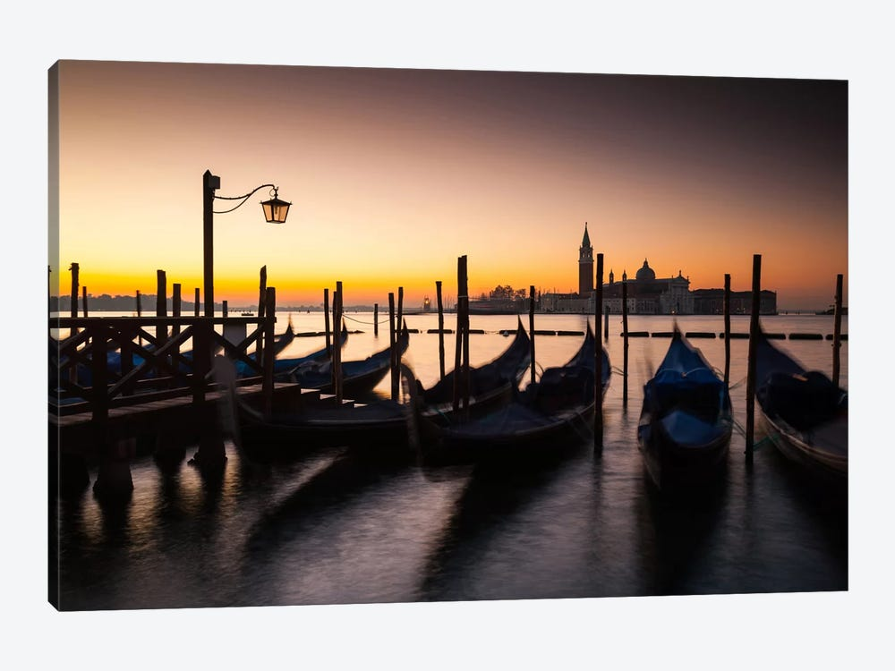 Italy, Venice, Sunrise, Gondolas by Mikolaj Gospodarek 1-piece Canvas Wall Art