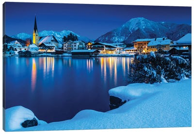 Germany, Bavaria, Tegernsee Mountain Lake Canvas Art Print