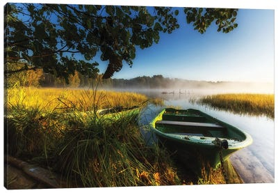 Sunrise - Lake - Kashubia - Poland Canvas Art Print