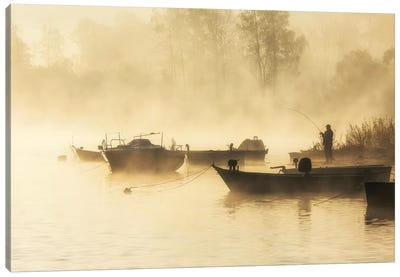 Sunrise - Lake - Angler - Poland Canvas Art Print