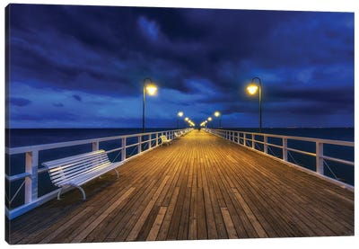 Sunset - Pier - Baltic Sea - Gdynia - Poland Canvas Art Print