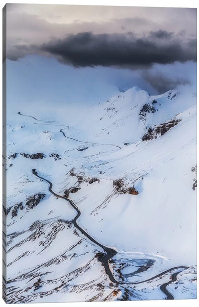 Grossglockner High Alpine Road. Winter. Austria Canvas Art Print