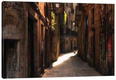 Street In Barcelona, Spain Canvas Art Print