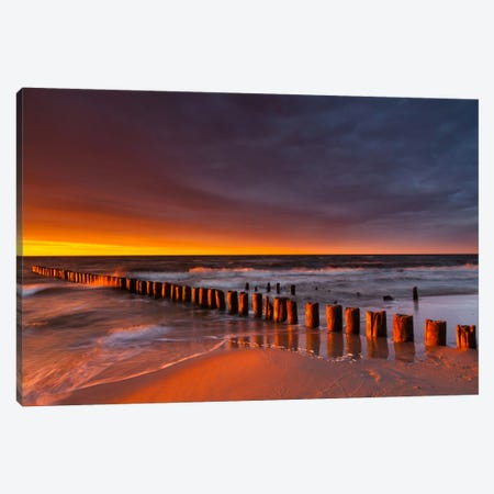 Poland, Baltic Sea, Dziwnow, Sunset IV Canvas Print #LAJ48} by Mikolaj Gospodarek Canvas Print