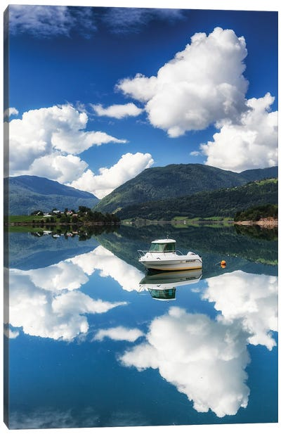 Boat In Norway Canvas Art Print
