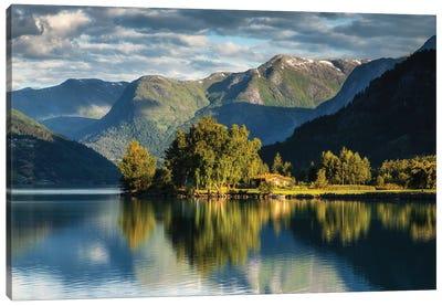 Hjelle, Oppstrynsvatnet Lake, Norway Canvas Art Print