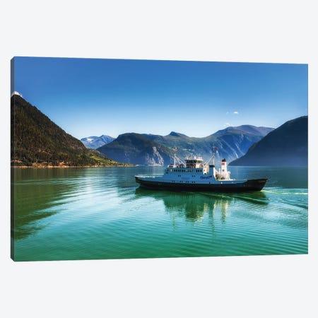 Ferry On The Lake In Norway Canvas Print #LAJ504} by Mikolaj Gospodarek Canvas Artwork