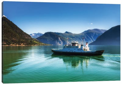 Ferry On The Lake In Norway Canvas Art Print