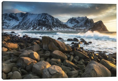 Unstad Beach, Lofoten In Norway Canvas Art Print