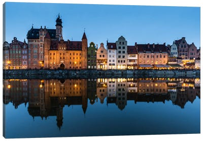 Poland, Gdansk, Motlawa River, Old Town Canvas Art Print