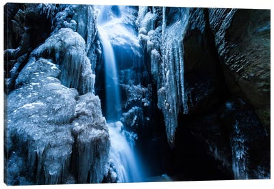 Czech Republic, Adršpach-Teplice Rocks, Waterfall With Ice Canvas Art Print