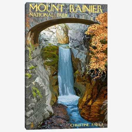 Mount Rainier National Park (Christine Falls) Canvas Print #LAN100} by Lantern Press Canvas Art