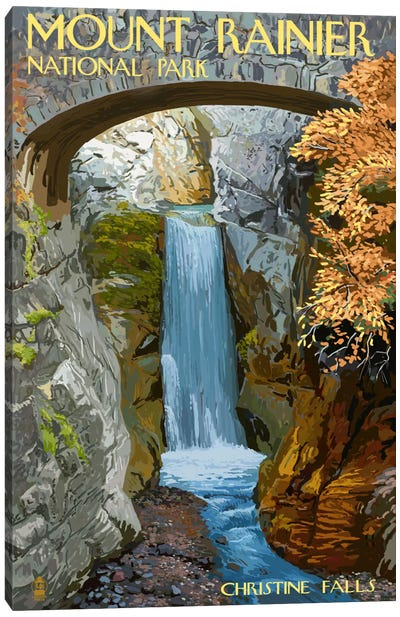 U.S. National Park Service Series: Mount Rainier National Park (Christine Falls) Canvas Print #LAN100