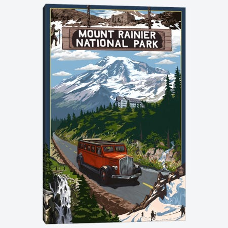 Mount Rainier National Park (Historic Red Bus) Canvas Print #LAN101} by Lantern Press Canvas Artwork