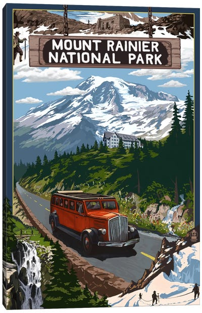 Mount Rainier National Park (Historic Red Bus) by Lantern Press Canvas Art Print