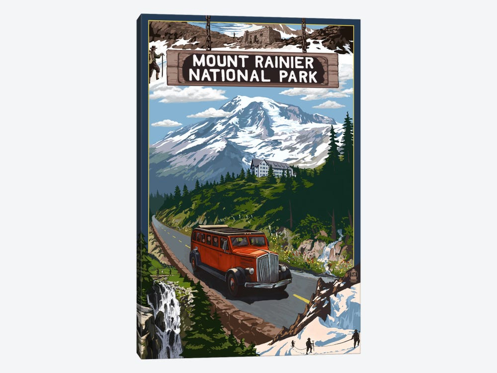 Mount Rainier National Park (Historic Red Bus) 1-piece Canvas Art Print