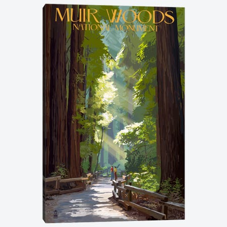 Muir Woods National Monument (Old-Growth Redwoods) Canvas Print #LAN102} by Lantern Press Canvas Wall Art