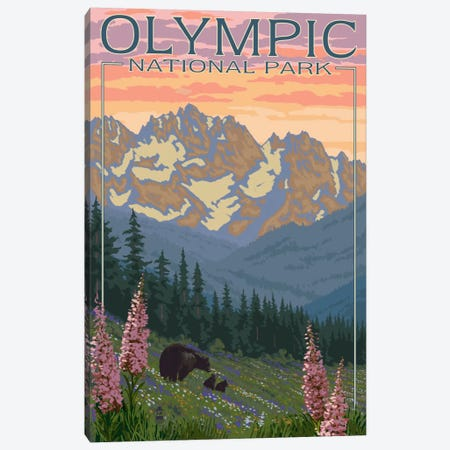 Olympic National Park (Black Bear Family) Canvas Print #LAN103} by Lantern Press Canvas Wall Art