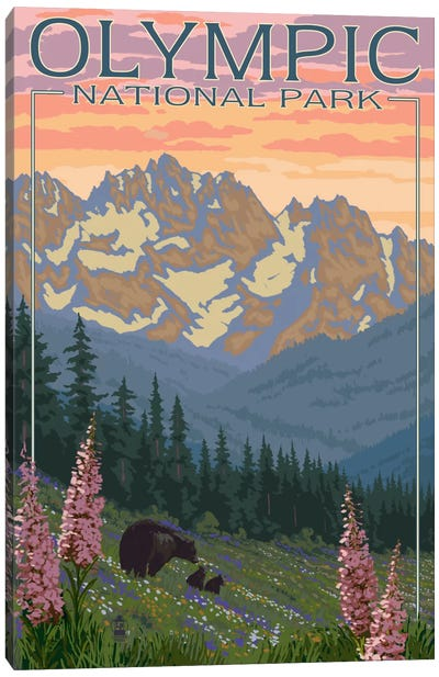 Olympic National Park (Black Bear Family) by Lantern Press Canvas Art Print