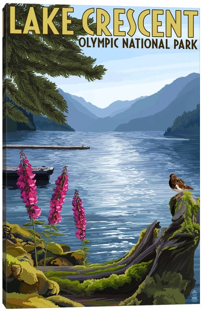 Olympic National Park (Lake Crescent) by Lantern Press Canvas Art Print