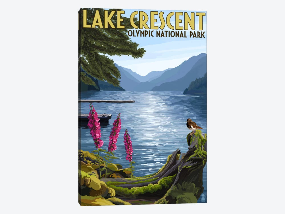 Olympic National Park (Lake Crescent) by Lantern Press 1-piece Canvas Art Print
