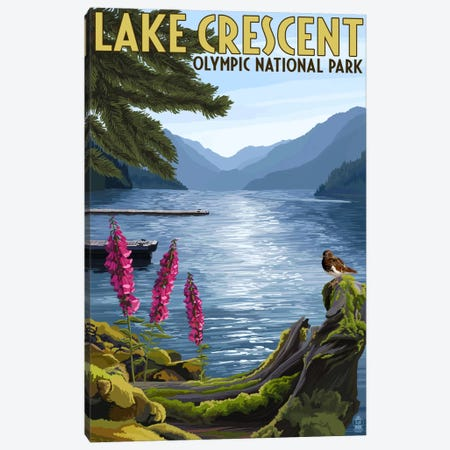 Olympic National Park (Lake Crescent) Canvas Print #LAN105} by Lantern Press Canvas Print