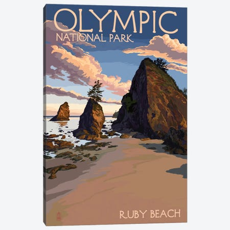 Olympic National Park (Ruby Beach) Canvas Print #LAN106} by Lantern Press Art Print