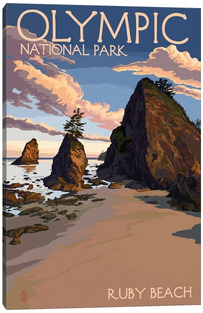 Olympic National Park (Ruby Beach) by Lantern Press Canvas Art Print