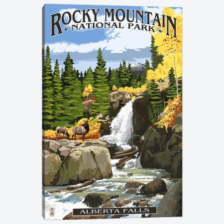 Rocky Mountain National Park (Alberta Falls) Canvas Print #LAN108} by Lantern Press Canvas Art