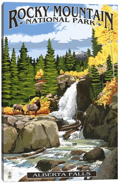 Rocky Mountain National Park (Alberta Falls) by Lantern Press Canvas Art Print