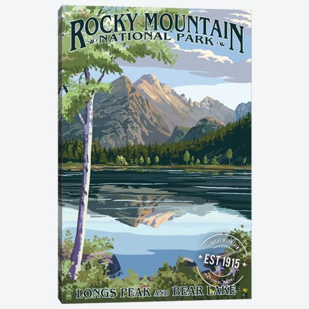 Rocky Mountain National Park (Longs Peak And Bear Lake In Summer) Canvas Print #LAN111} by Lantern Press Canvas Art Print