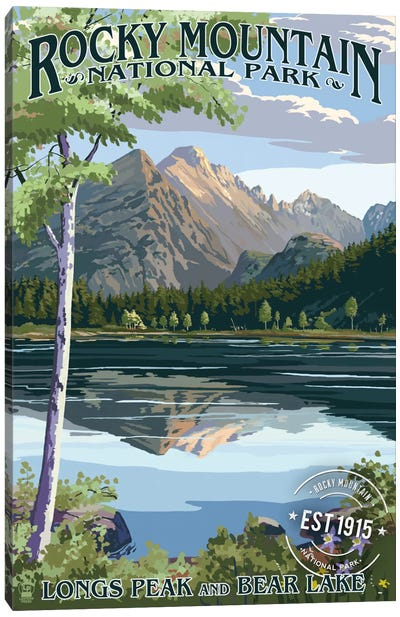 Rocky Mountain National Park (Longs Peak And Bear Lake In Summer) by Lantern Press Canvas Art Print