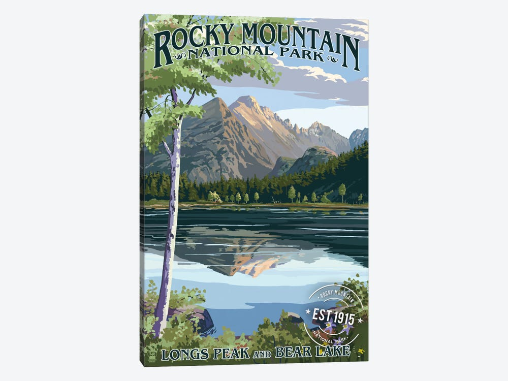 Rocky Mountain National Park (Longs Peak And Bear Lake In Summer) by Lantern Press 1-piece Canvas Wall Art