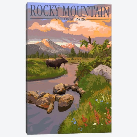 Rocky Mountain National Park (Moose Along A Mountain Stream) Canvas Print #LAN112} by Lantern Press Canvas Art Print