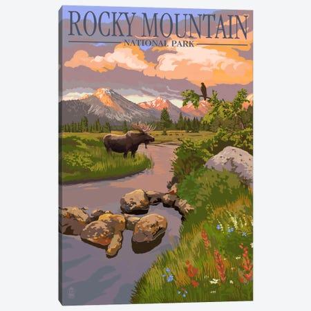 Rocky Mountain National Park (Moose Along A Mountain Stream) Canvas Print #LAN112} by Lantern Press Canvas Art Print