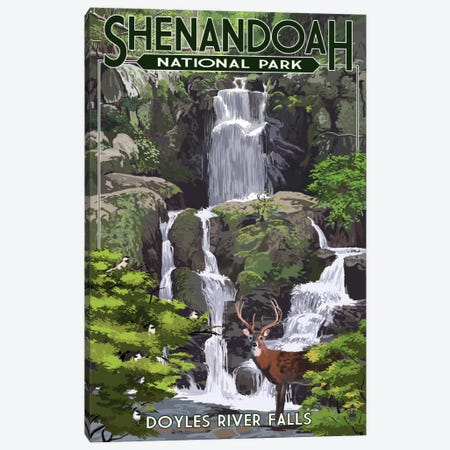 Shenandoah National Park (Doyles River Falls) Canvas Print #LAN116} by Lantern Press Canvas Wall Art