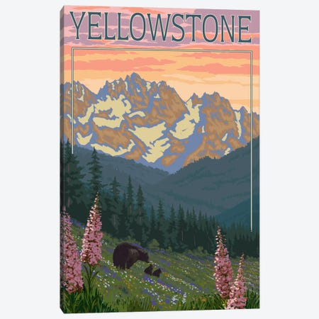 Yellowstone National Park (Black Bear Family) Canvas Print #LAN118} by Lantern Press Canvas Art Print