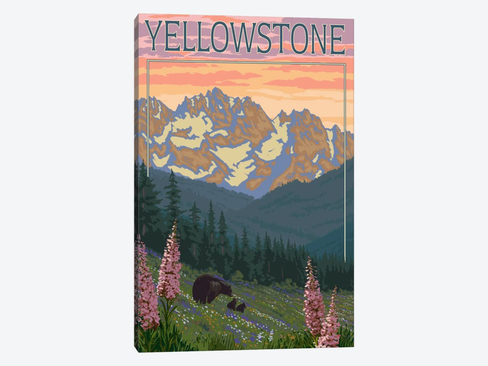 Yellowstone National Park (Black Bear Family) by Lantern Press 1-piece Art Print