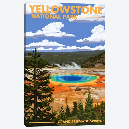 Yellowstone National Park (Grand Prismatic Spring) Canvas Print #LAN119} by Lantern Press Canvas Print