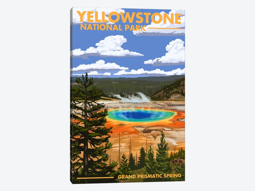 Yellowstone National Park (Grand Prismatic Spring) by Lantern Press 1-piece Canvas Art
