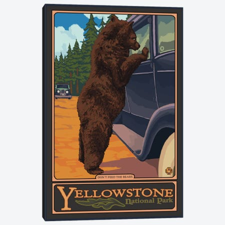 Yellowstone National Park (Hungry Grizzly Bear) Canvas Print #LAN120} by Lantern Press Canvas Wall Art
