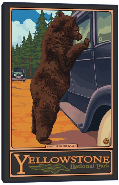 U.S. National Park Service Series: Yellowstone National Park (Hungry Grizzly Bear) Canvas Print #LAN120